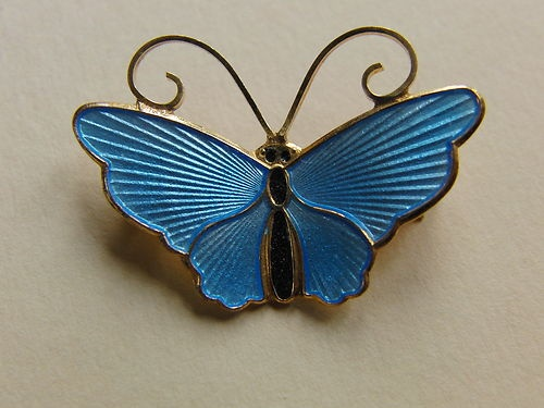 DAVID ANDERSEN NORWAY SILVER ENAMEL BUTTERFLY BROOCH SKY BLUE