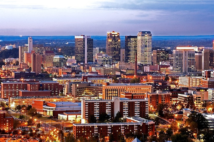 UAB in the foreground. University. Medical School. Major research center. Largest employer in Alabama.