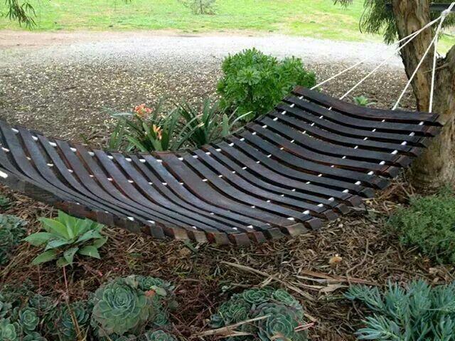 A wine barrel becomes a hammock