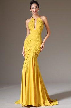 eDressit 2014 New Halter Yellow Sheath Formal Evening Dress (02142203) - USD 140.81