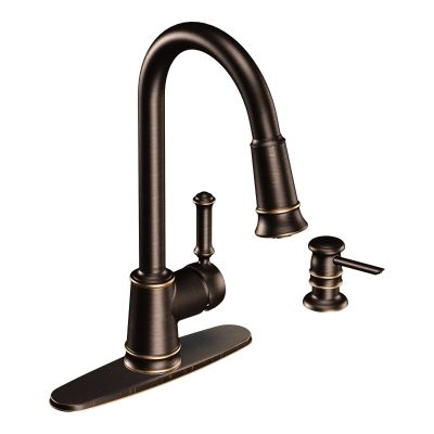 WANT THIS FAUCET - Lindley Mediterranean bronze one-handle high arc pulldown kitchen faucet -- CA87012BRB -- Moen