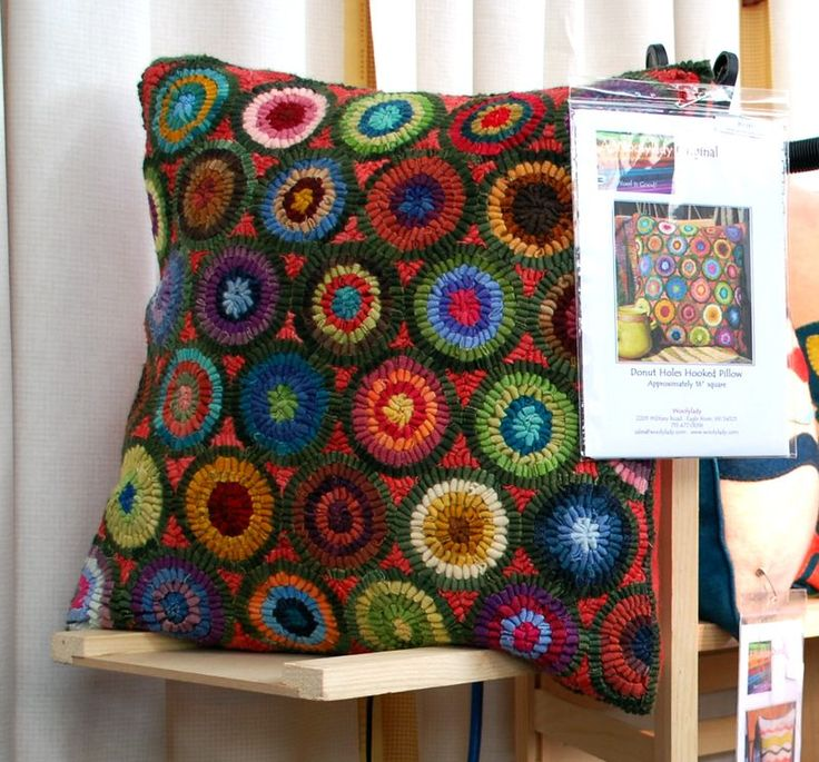 wonderful rug hooked pillow