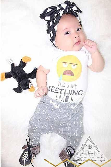 TEETHING EMOJI Onesie® / Emoji Onesie® / Teething Onesie®/ Funny Onesie®