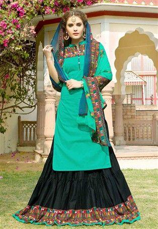 Turquoise Cotton Printed Achkan Style Salwar Kameez #collarneck #Style #sale #dress #Salwar #Kameez #nikvik #usa #designer #australia #canada #suits #collar