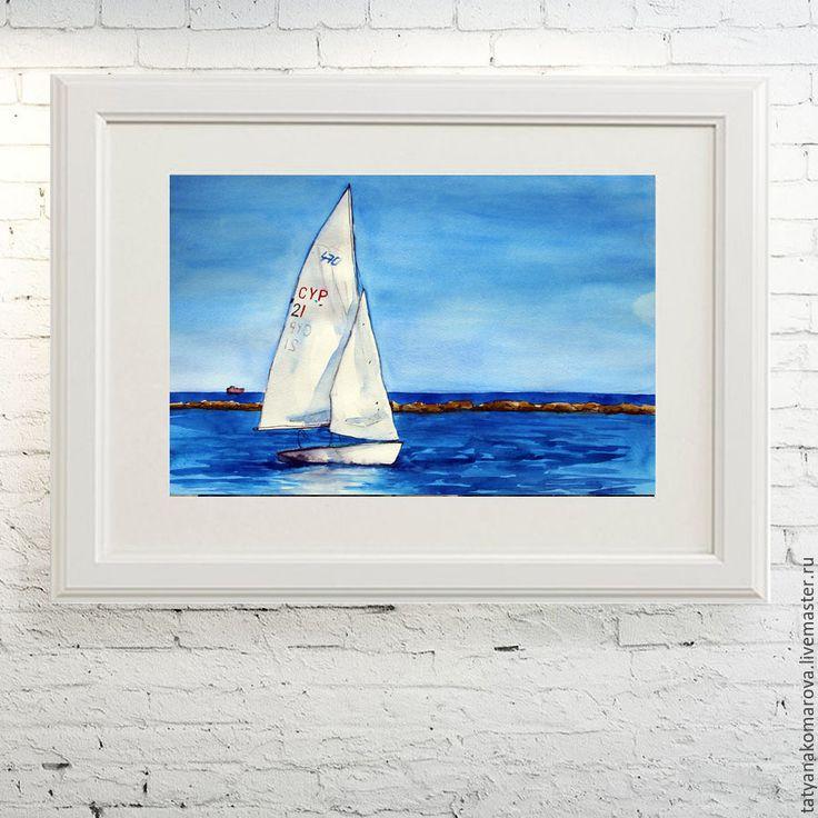 """Купить Акварельная картина """"Парусник"""" - синий, голубой, белый, акварельный рисунок, акварель, акварельная картина"""