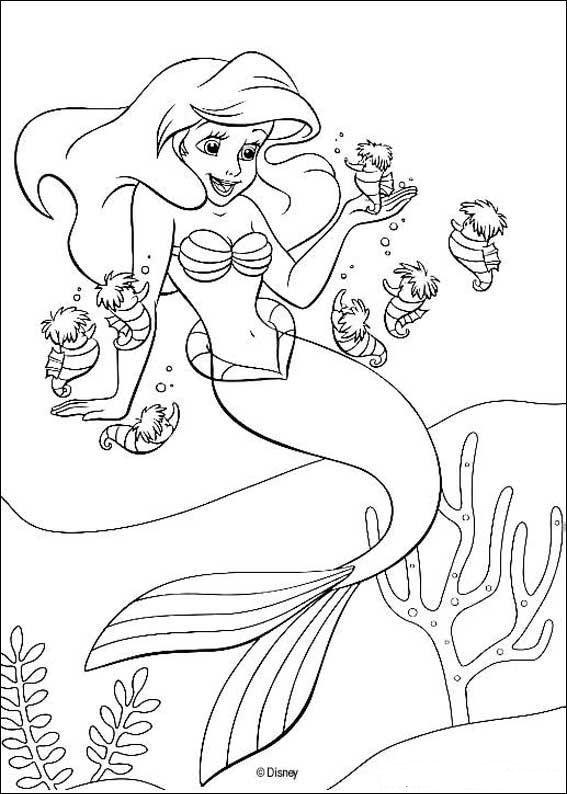kleurplaat De kleine zeemeermin - Ariel de kleine zeemeermin
