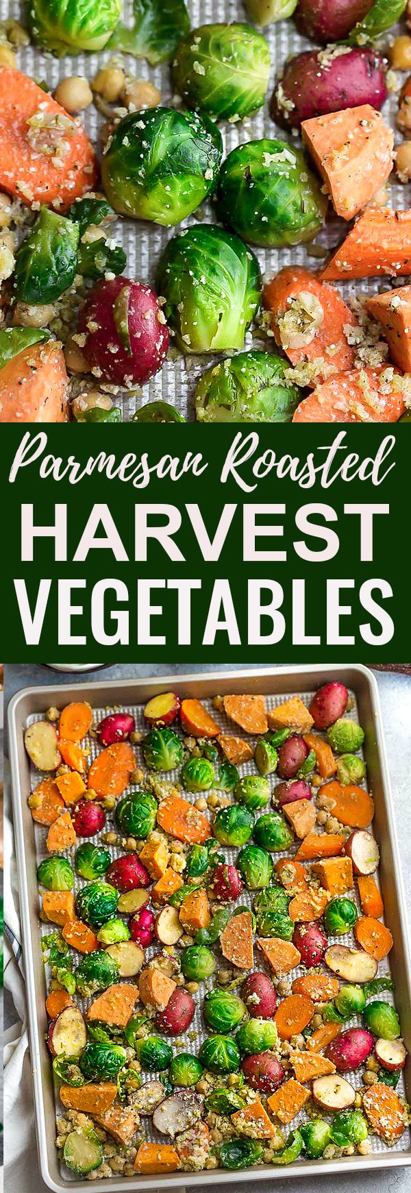 One Pan Roasted Harvest Vegetables - made with carrots, sweet potatoes, Brussels sprouts, baby potatoes and chickpeas. The perfect easy and delicious side dish for fall, Thanksgiving, Christmas or any busy weeknight meal! Best of all, so easy to customize and packed with crunchy panko crumbs and bursting with flavor from the Parmesan cheese, garlic and Italian seasoning.