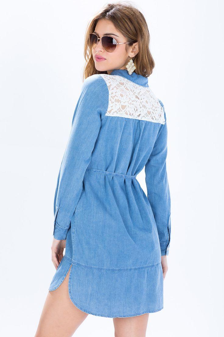 Джинсовое платье-рубашка з кружевом Размеры: S, M, L Цвет: голубой Цена: 2237 руб.  #одежда #женщинам #платья #коопт