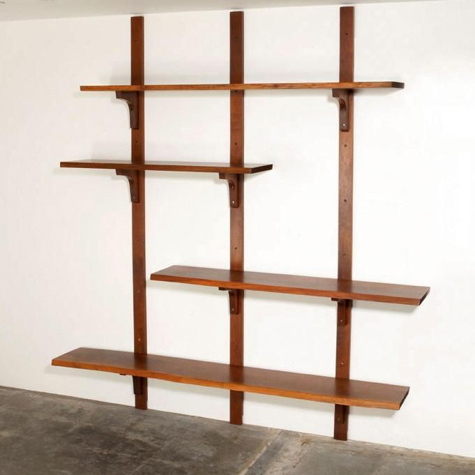 George Nakashima; Walnut Wall-Mounted Shelves, 1981.