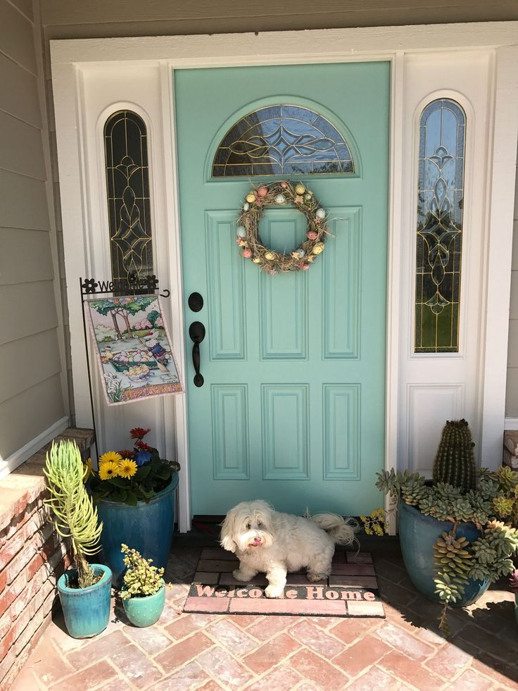 Aqua front door. Sherwin Williams Blue sky.