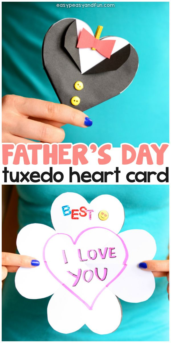 Father's Day Tuxedo Heart Card Idea for Kids...