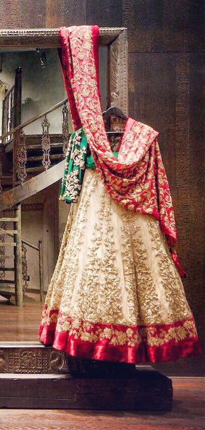 Gorgeous red, green and cream anarkali suit with dupatta. Indian fashion.