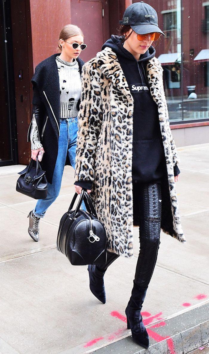 Winter Outfit Ideas: Bella Hadid wears Hoodie + Leopard Coat.