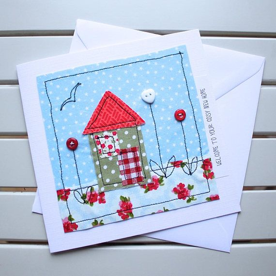 This unique, one-off, handmade new home card with pretty and colourful fabrics has been designed and made by myself using the technique of free motion machine embroidery. It is the perfect welcoming card for someone who has just moved into a new home. Individual pieces of fabric have been cut out by hand and then machine stitched into position to create the house and garden scene, matching buttons have then been added to create the flowers and add detail. The card is an original fabric…