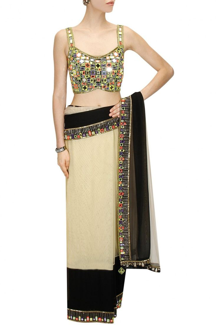Beige and black embroidered sari with multi mosaic mirror work blouse available only at Pernia's Pop-Up Shop.