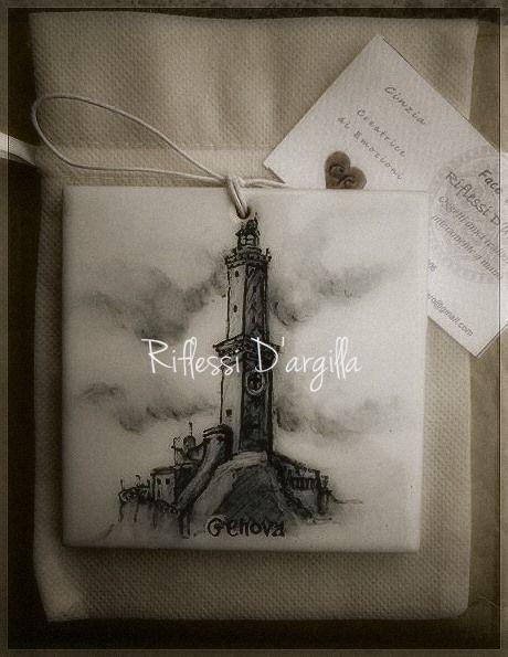 Mattonella 10 x 10 decorata su maiolica e personalizzata su richiesta...in partenza per Genova <3Riflessi D'argilla - Ceramic Creations Solo cose belle..a Rossiglione.