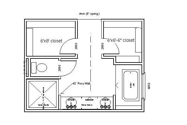Make the closets with pocket doors, only use a single vanity and this layout may work.
