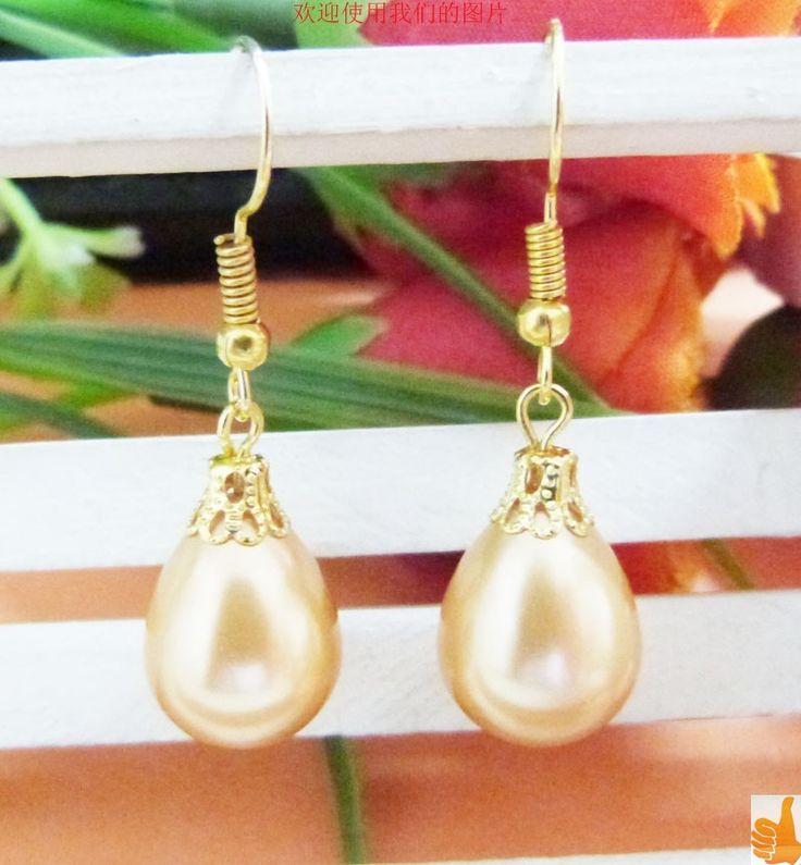Cheap M9352 @ @ @ bella 12x16mm dorato drip south sea shell orecchino di perla, Compro Qualità Orecchini di goccia direttamente da fornitori della Cina: