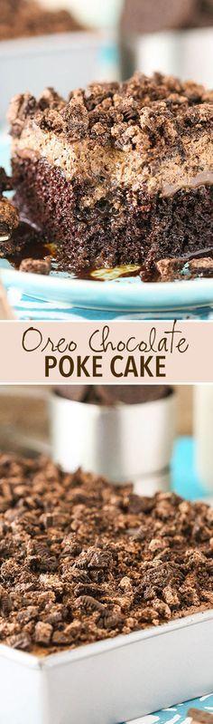 Oreo Chocolate Poke Cake - an easy homemade chocolate cake covered in more chocolate and Oreo whipped cream! So good!