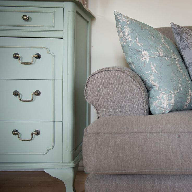 Orchard Green chest of drawers, in farrow and ball paint, and biggie best soft furnishings!