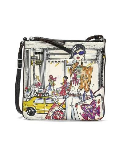Brighton H1516m Downtown S Messenger In Multi Features Hand Drawn Images Of A Ping Nyc By Tom Clancy