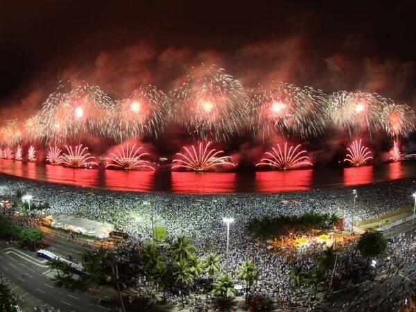 New Year's Eve ~ December 31, 2013: Midnight January 1, 2014 fireworks in Rio de Janeiro, Brazil