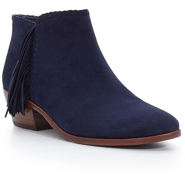 Sam Edelman Fringed Leather Ankle Boots ($170) ❤ liked on Polyvore featuring shoes, boots, ankle booties, navy blue, fringe booties, leather bootie, ankle boots, navy blue booties and short leather boots