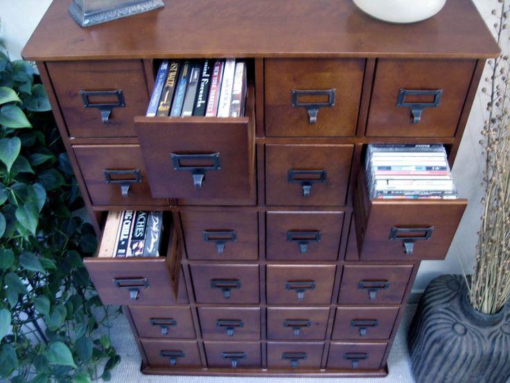 Card Catalog Style Media Storage Home Decor: Furniture