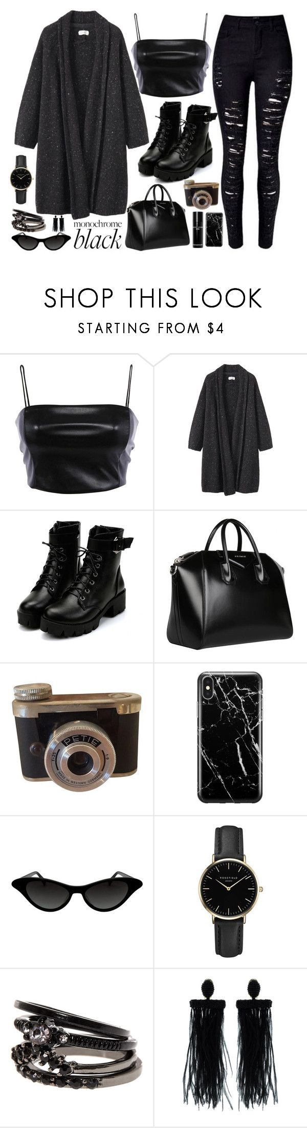 """""""Mission Monochrome: All-Black Outfit"""" by tlb0318 on Polyvore featuring Toast, Givenchy, Recover, ROSEFIELD, Oscar de la Renta and Bobbi Brown Cosmetics"""
