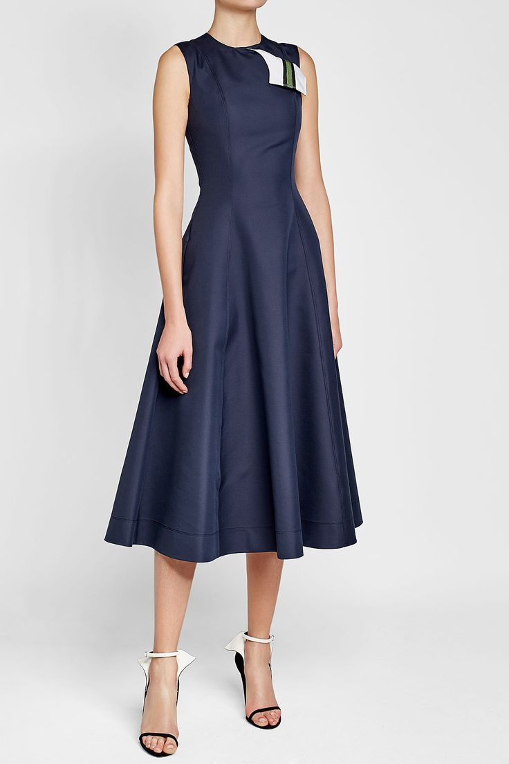 CALVIN KLEIN 205W39NYC - A-Line Dress in Cotton and Silk   STYLEBOP