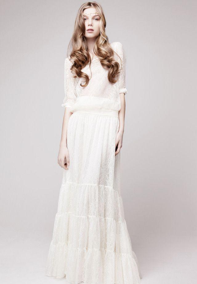 Robe de mariée manches longues style bohème - Robe: Otaduy Design ...