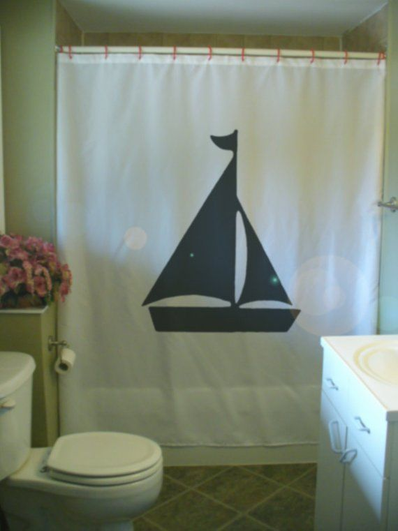 Yacht Shower Curtain Sail Boat Flag Water Lake Ocean Toy Sport