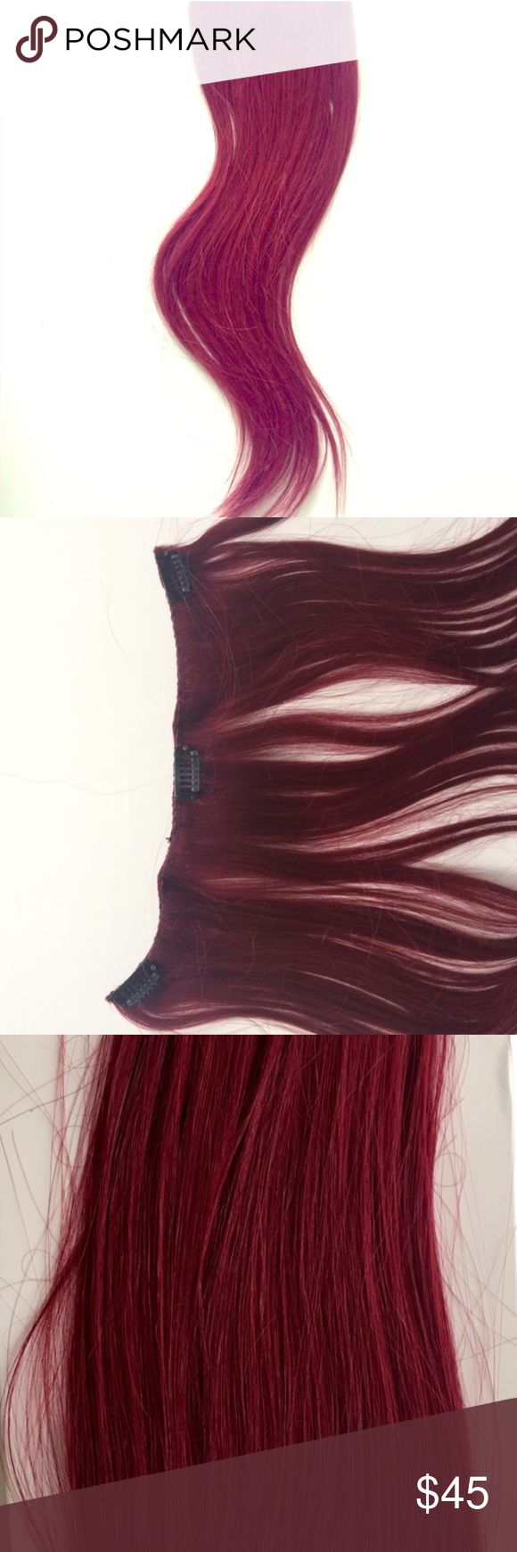 Burgundy human hair extension Burgundy red clip on human hair extensions. Extra silky Korean hair, can be curled, straightened, washed, dyed. One full doubled row, ear to ear Accessories Hair Accessories