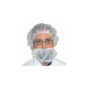 Premier 1 Beard Covers, White, Over Ear, 1000/case. Low Cost polypropylene beard cover saves you money. Two straps fit over your ears. Choose from 2 styles of securing the beard cover to your head. Elastic bands are latex free. Any color you want as long as it's white. Beard cover fully covers beards - keeps beard hair in place. Suitable for Cleanrooms, Food Handling/Production, Medical and Industrial applications. Over the Head. A single strap fits over your head.