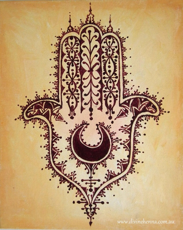 Desert Hamsa Hand Of Fatima Henna Style Painting On Ochre Background North African Moroccan