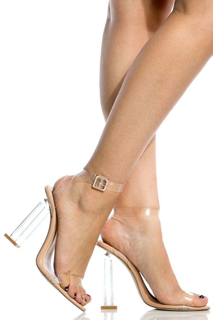 Transparent Chunky Wrap Around Vinyl Heels @ Cicihot Heel Shoes online store…
