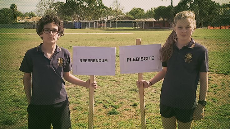 After weeks of debate about whether to change Australia's marriage laws, the Government now says that asking the people is their preferred option. But how? Well the two options being talked about are a referendum or a plebiscite. Here's Matt to explain the difference.