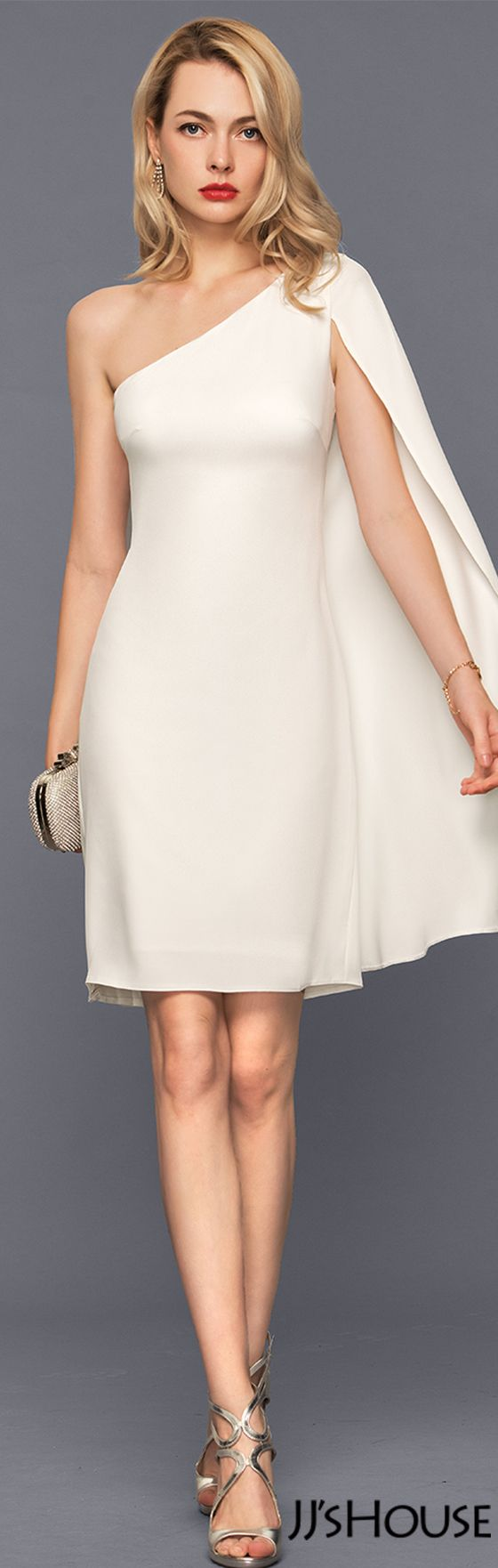 Sheath/Column One-Shoulder Knee-Length Satin Cocktail Dress#JJsHouse #Cocktail dresses