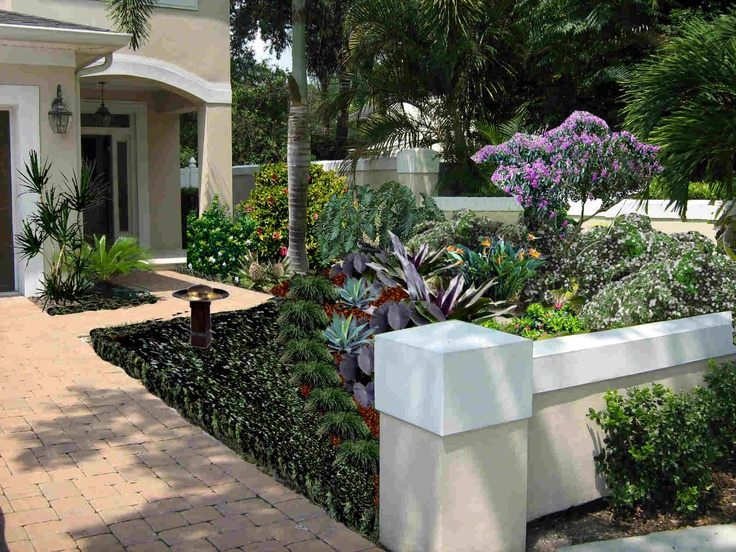 colorful tropical entry garden