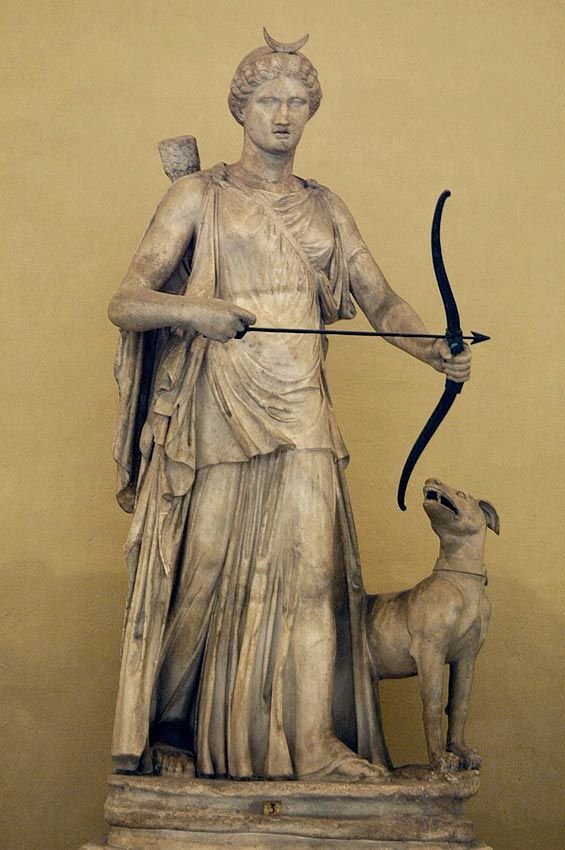 the sculpture of roman goddess diana Diana (classical latin: [dɪˈaːna]) was the goddess of the hunt, the moon, and nature in roman mythology, associated with wild animals and woodland, and having the power to talk to and control animals.