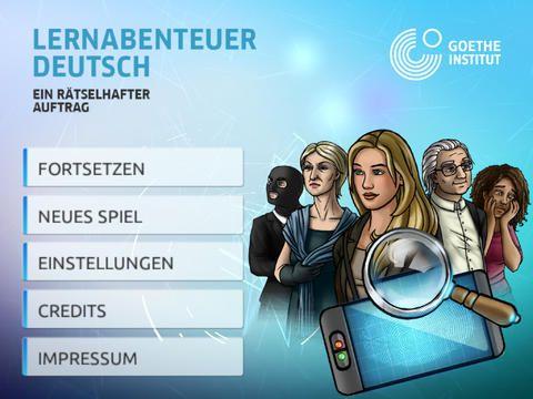 Adventure German - A mysterious Mission HD.  Appen er gratis. Her kan man igen komme på et mysterium, hvor man skal løse opgaver på tysk. Det er lavet meget nutidigt, Det er til de ældste elever.