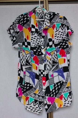 Vintage 80s Abstract Bold Crazy Print Shirt Blouse Top Oversize