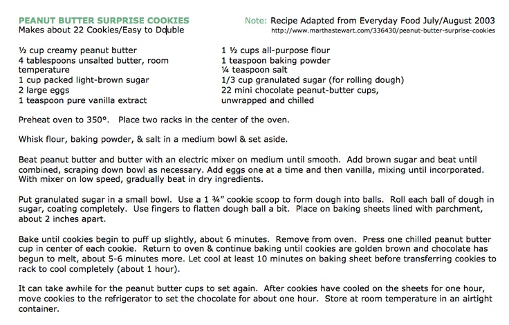 2nd recipe in my 2012 Holiday Baking series in the ever popular Peanut Butter Surprise!  I adapted this recipe from the July/August 2003 Everyday Food magazine version.  Check out OLJ for the accompanying video!