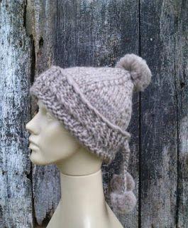 gorro tricotado com lã de ovelha