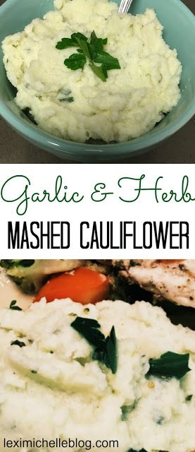 Garlic & Herb Mashed Cauliflower- with iifym macro counts, the key to making tasty mashed cauliflower is extra seasoning! (macro friendly meal, diet food)