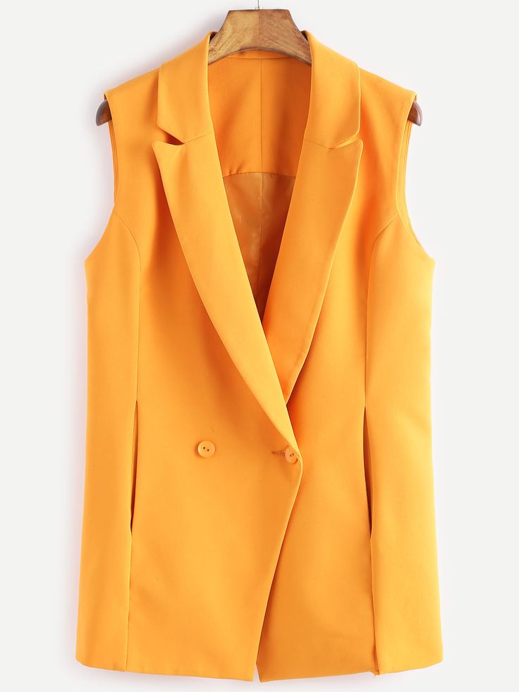 Shop Yellow Double Breasted Sleeveless Blazer online. SheIn offers Yellow Double Breasted Sleeveless Blazer & more to fit your fashionable needs.