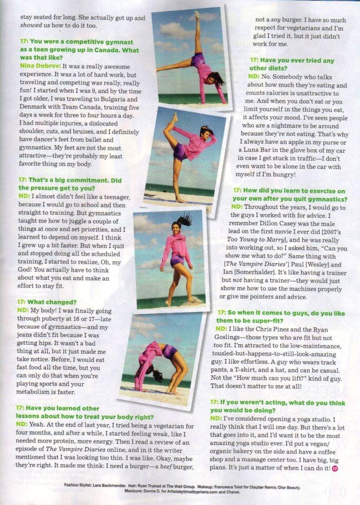 """Star: Nina Dobrev na revista """"Seventeen Fitness"""""""
