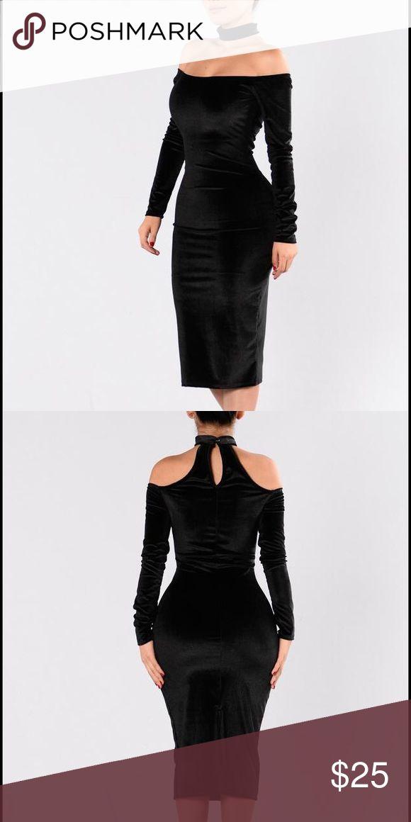 Fashion Nova velvet black dress Beautiful form fitting off the shoulder Black velvet dress with attached choker. 90% polyester 10% spandex size M Fashion Nova Dresses Midi