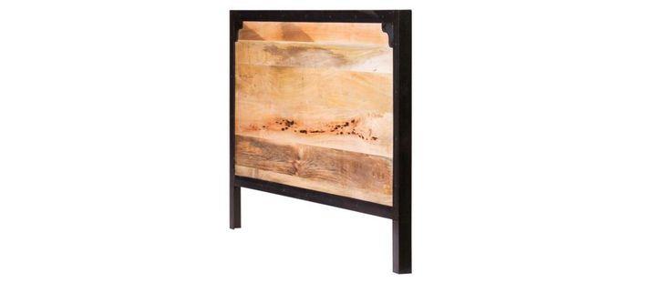 Testata da letto in metallo e legno di mango INDUSTRIA - Miliboo