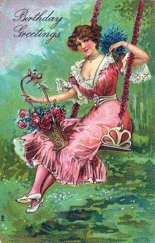 Victorian Ladies Birthday PostcardsVintage CardsVintage Greeting
